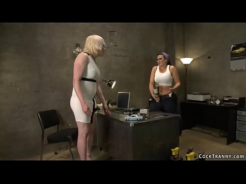 Blonde TS anal fuck brunette mechanic