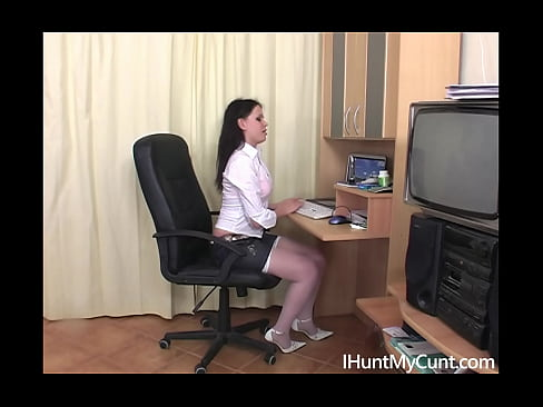 Russian secretary plays with her dildo in the office