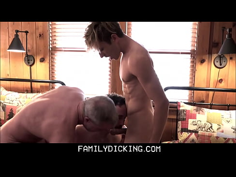 Hot Blonde Fit Body Twink Stepson Bar Addison Threesome With Dad & Grandpa
