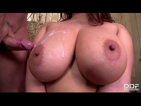 Busty Czech Sirale's huge 34F knockers titty fucked and her pussy pounded