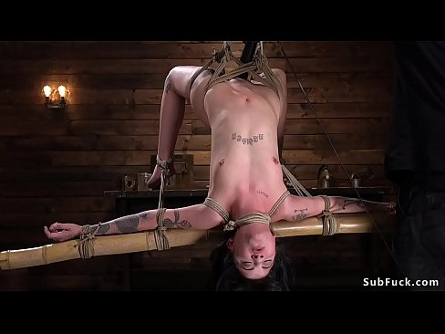 Alt slave babe Charlotte Sartre gets eagle standing bondage spread by her master then in suspension whipped [5:11x360p]->
