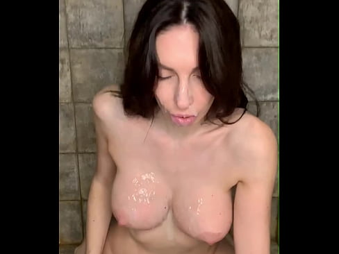 Hot milf takes a shower and cums on her face