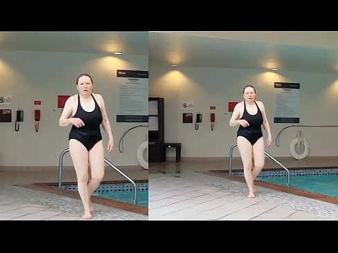 Sexy Grandma is Sexy at 66 in a black swimsuit