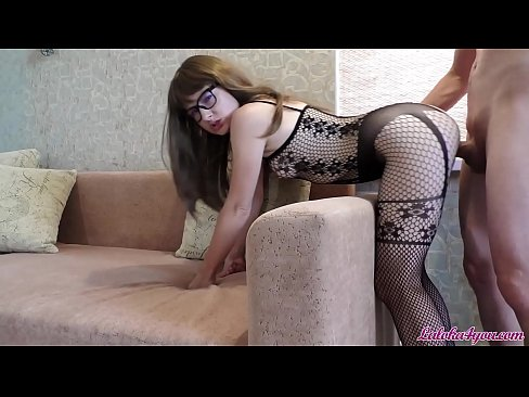 Babe in Glasses Blowjob Big Cock and Rough Doggy Fuck - Cum on Face