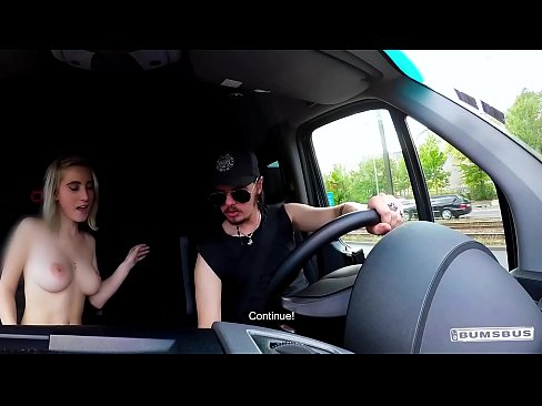 BUMS BUS - Petite blondie Lia Louise enjoys backseat fuck and facial in the van