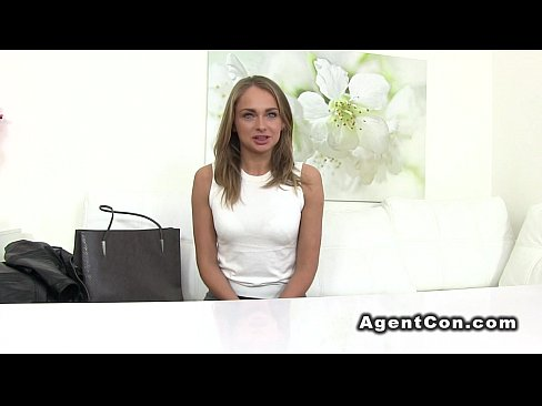 Slim small tits blonde bangs in casting