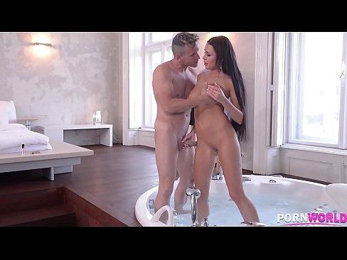 Hot tub fucking with top-heavy bombshell Patty Michova makes him cum hard