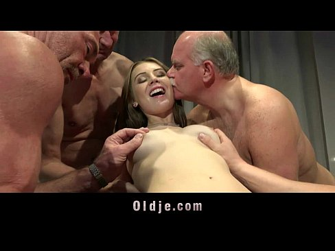 Young nurse gangbanged by five old doctors at a summit