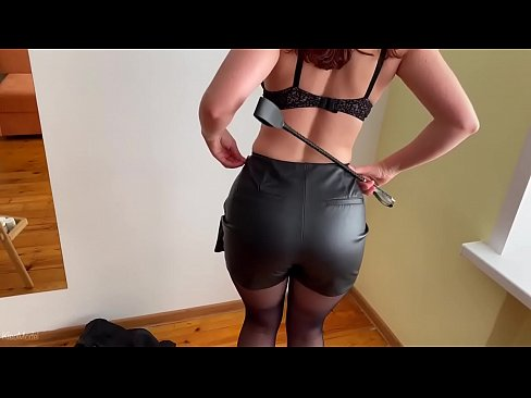 KleoModel Sex with wife in ripped pantyhose and cum inside. Role playing BDSM homemade porn