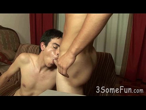 Hot-bodied gay hunk gets sucked and rimmed at once