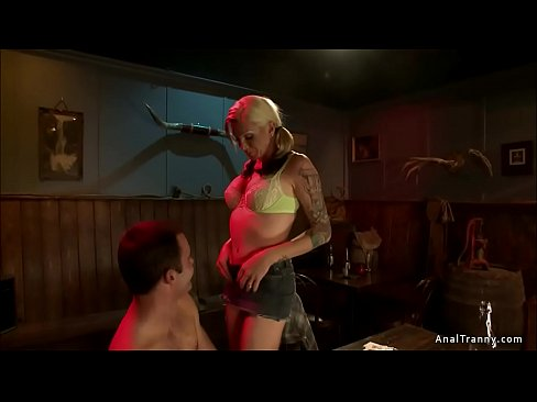 Bartender is anal fucked by busty TS