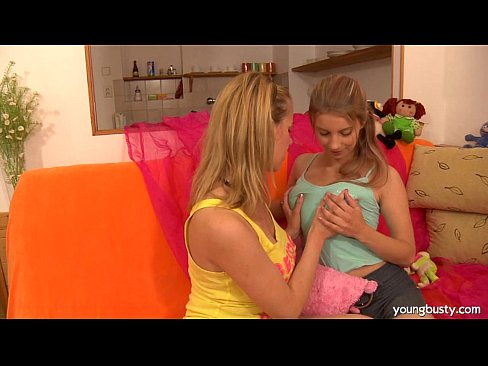 Busty teen lesbians toy twats