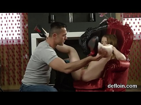 Defloration of cuddly nymph soft twat and finger fucking
