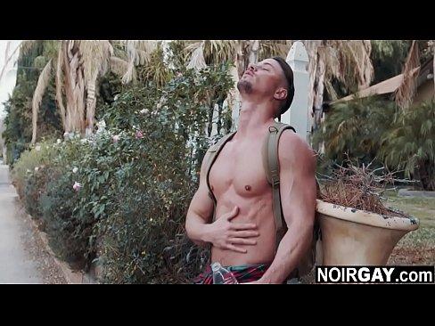 White gay hitchhiker deepthroating a big black cock - interracial gay sex