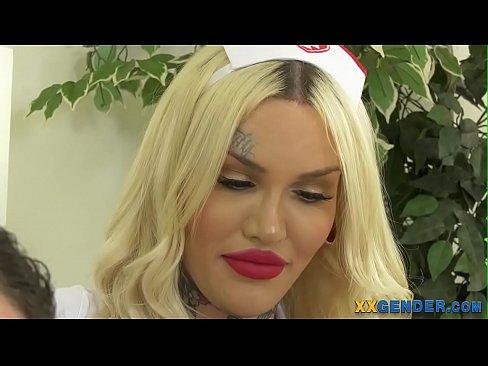 Busty inked trans nurse gets barebacked