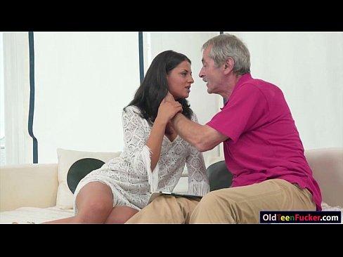 Teen Coco De Mal sucks off grandpas cock and is pussy eaten