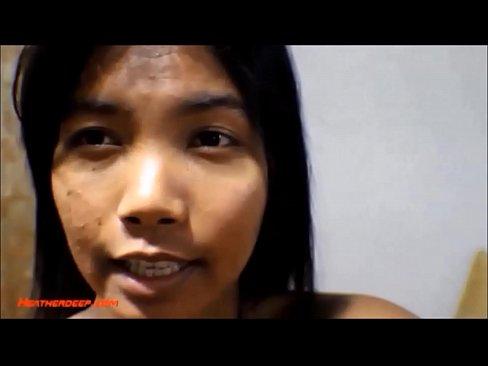 HD 9 weeks pregnant thai asian teen get anal creampie in black leather -
