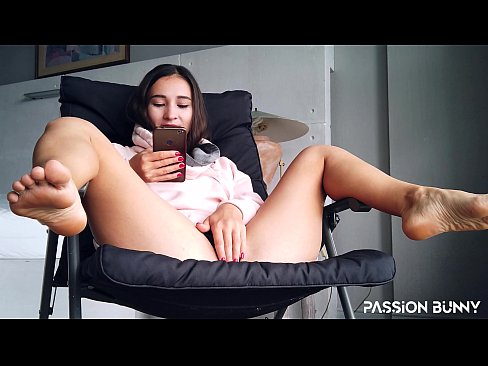 Beauty student girl masturbate beauty pussy in chair near window - PassionBunny