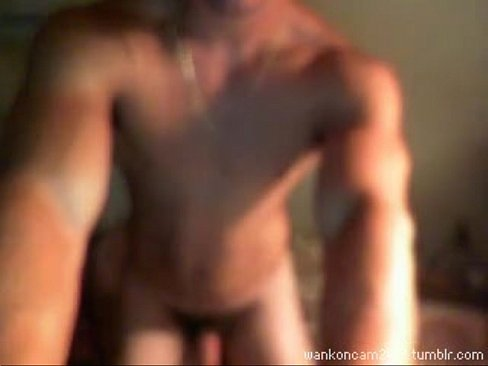 horny marine wanks and flexes his muscles