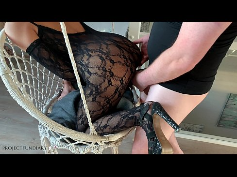 bitch in sexy catsuit taken anal on a swing -projectfundiary
