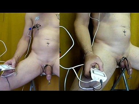 ejac on 1min50 with estim box sanitas sem43 inside cock