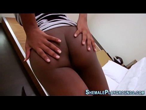 Solo ebony shemale spunks