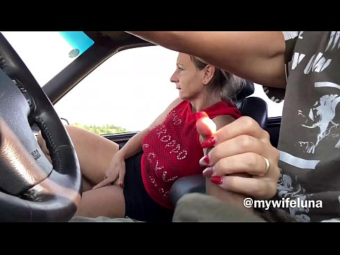 My wife gets excited sucking cock while I drive