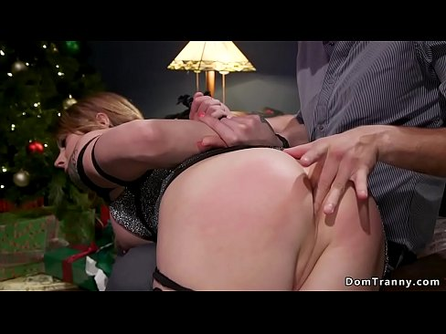 Butt plugged shemale gets spanked