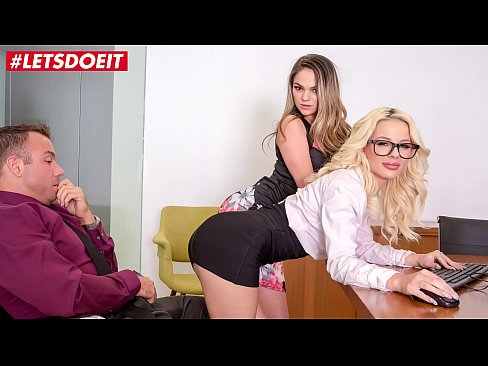 LETSDOEIT - Horny Secretaries Bella Rose And Athena Faris Fuck Super Hard Their Horny Boss