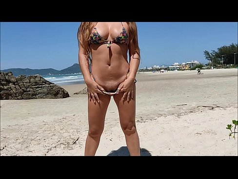 Slut wife also does gymnastics on the beach - complete in red