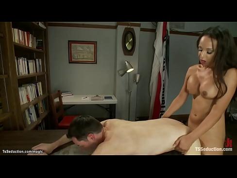 Busty TS anal fucks police cadet