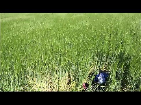 Teen girl threesome in public outdoor cornfield germany facials