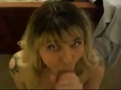 Blonde trap blows, gets fucked and gets a mouthful