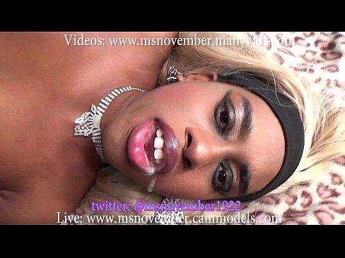 Ebony Teen Swallows Cum