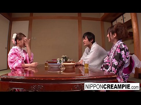 Japanese geisha gets fucked while her girlfriend is a.