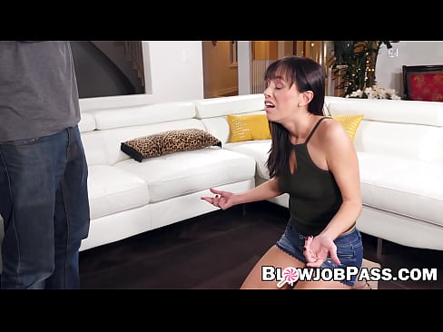 Deepthroating and swallowing cum by hot skinny babe