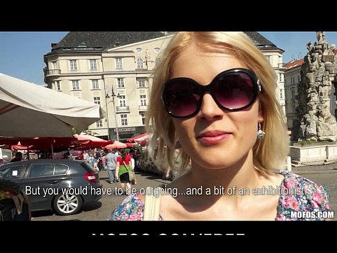 Blond Czech exhibitionist bounces her perfect ass on a big-dick