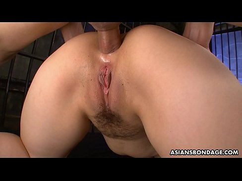 Sexy Japanese slut double fucked up the ass and creampied