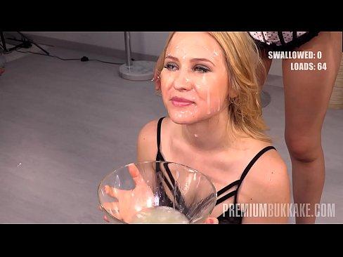 Premium Bukkake - Nikki Hill swallows 69 huge mouthful cum loads