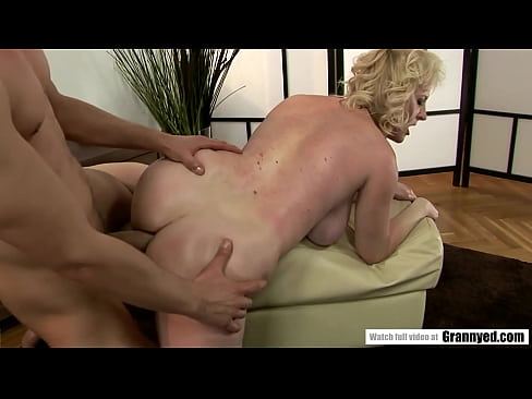 Blonde Grandma Tries to chill but gets a dong in her face and ass - Monik