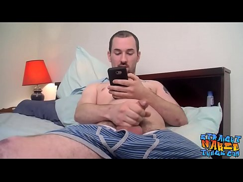 Solo staighty jerking and stroking hard until he cums