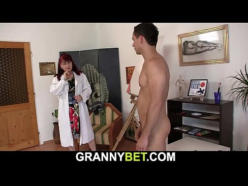 Shaved old pussy mature sucks and rides