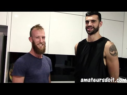 AmateursDoIt - Bearded studs fuck after hot oral session in the kitchen