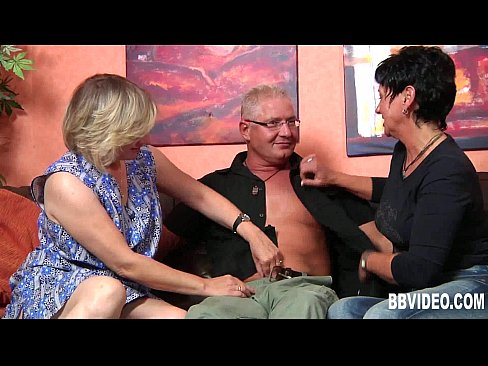 German milf gets fucked in threesome