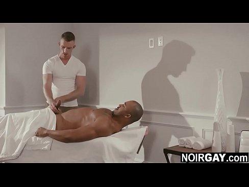 Straight black guy's bbc got hard during massage - interracial gay sex