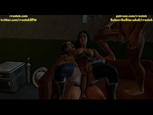 Wonder Woman threesome with ugly men 3D Animation