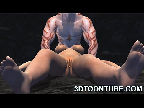 Busty 3D cartoon babe sucks cock and gets fucked