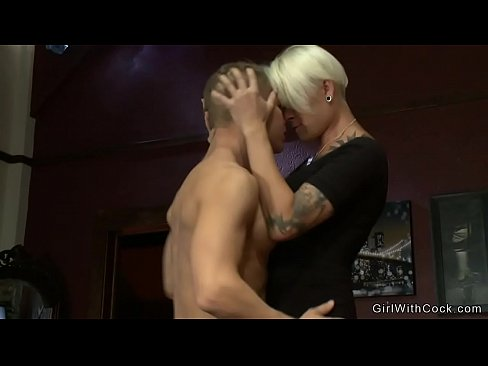 Busty blonde TS fucks handsome man