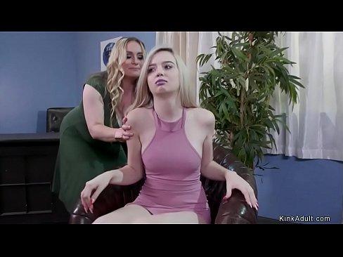 Busty therapist anal fucks lesbians