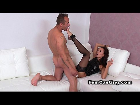 Dude fucks female agent and licks her foot
